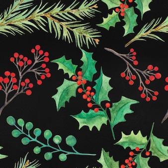 水彩のクリスマスの装飾のシームレスパターン