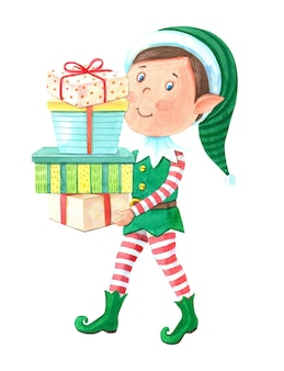 Watercolor christmas elf boy carries gift boxes.