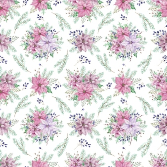 Watercolor christmas floral background with pine branches. seamless pattern with poinsettia and blue berries.