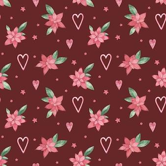 水彩のクリスマスの花のシームレスなパターン。赤いポインセチアとハート。ロマンチックな背景。バレンタインデーのパターン。テキスタイル、パッケージング、印刷のデザイン。