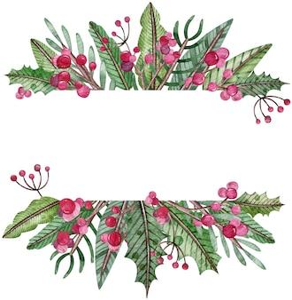 水彩クリスマスフレーム-モミの木、ヤドリギ、果実。長方形の緑の冬のフレーム。