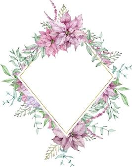 Акварельная новогодняя рамка с розовой пуансеттией и ветвями эвкалипта