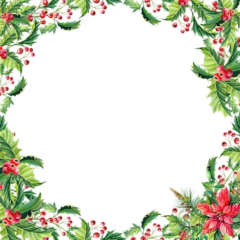 Watercolor christmas frame with red poinsettia flowers