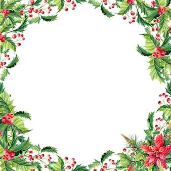 赤いポインセチアの花の水彩画のクリスマスフレーム