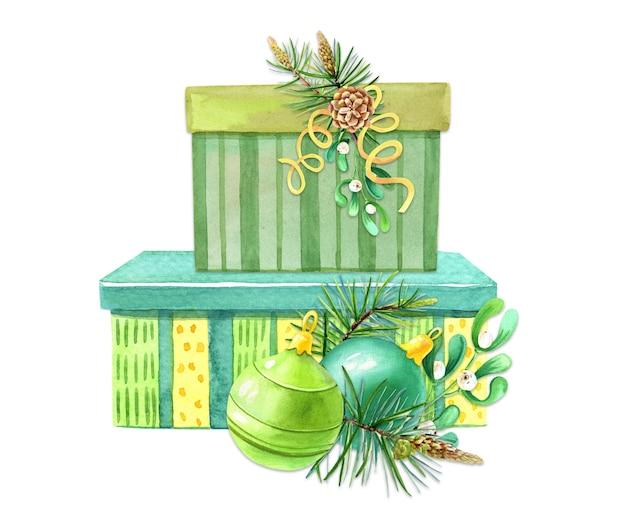 Акварельная рождественская подарочная коробка, еловые ветки, шишки. зимний акварельный рисунок.
