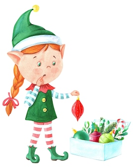 Watercolor christmas girl elf with magic wand
