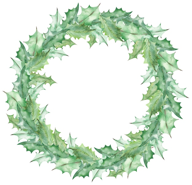 수채화 크리스마스 녹색 미 슬 토 잎 화 환. 손으로 그린 새 해 템플릿 흰색 배경에 고립.