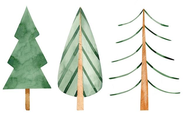 수채화 크리스마스 녹색 나무입니다. 만화 스타일의 가문비 나무와 휴일 나무. 손으로 그린 그림.