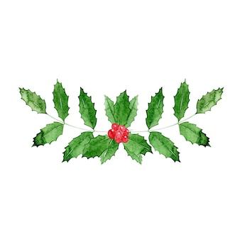 Акварель рождественский падуб