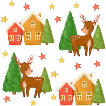 水彩画のクリスマスイラストクリスマス鹿、木、家、クリスマスのシームレスなパターン
