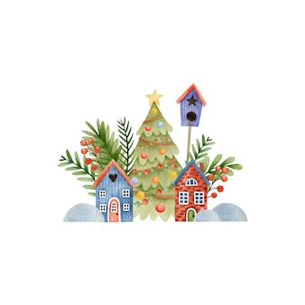 Watercolor christmas illustration happy new year greeting card happy holidays