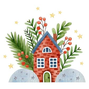 Акварельная рождественская иллюстрация с новым годом поздравительная открытка с праздниками