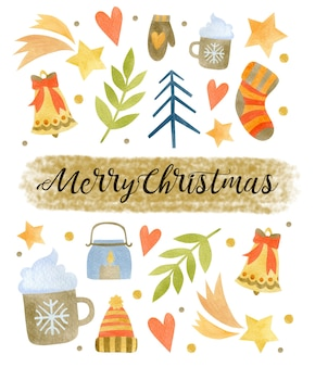 Watercolor christmas illustration new year happy holiday greeting card