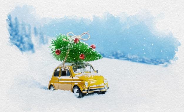 Акварельная рождественская иллюстрация ретро желтого автомобиля, несущего дерево на крыше в снежном зимнем лесу. рождественский фон. карта праздников. скопируйте пространство.