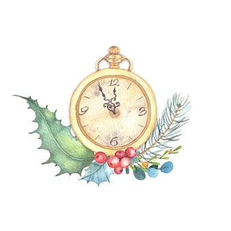 Акварельная рождественская иллюстрация старинных золотых часов с зимней цветочной композицией.