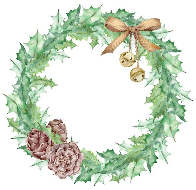 水彩画のクリスマスヤドリギは、金色の弓、ジングルベル、コーンで飾られた花輪を残します。
