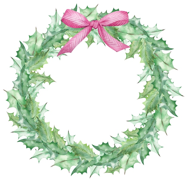 Watercolor christmas mistletoe leaves wreath decorated with a pink bow. hand-drawn new year's template isolated on the white background.