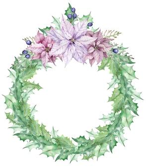 Акварельный рождественский венок из листьев омелы, украшенный розовыми цветами пуансеттии. рисованная праздничная открытка. новогодний шаблон.