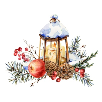 Watercolor christmas natural greeting card of fir branches, red apple, berries, pine cones, lantern, vintage illustration