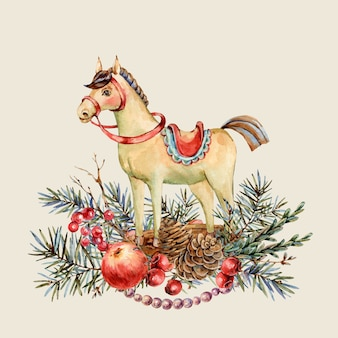 Watercolor christmas natural greeting card of wooden horse, fir branches, red apple, berries, pine cones