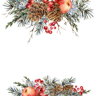 Watercolor christmas natural template of fir branches, red apple, berries, pine cones, vintage botanical greeting card
