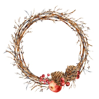 Watercolor christmas natural wreath of tree branches, red apple, berries, pine cones, vintajge botanical round frame for greeting card