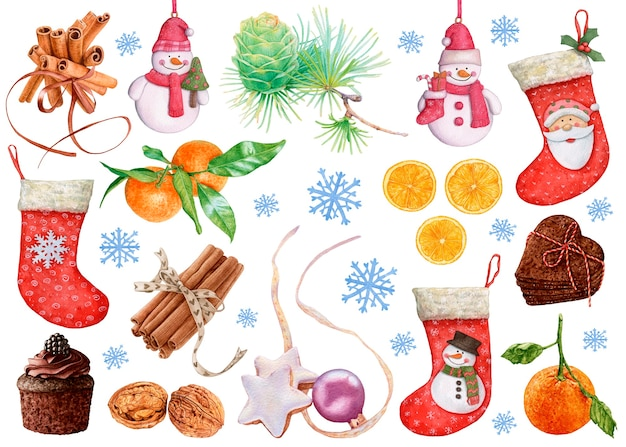Watercolor christmas and new year decorations. stockings, tangerines, snowmen, cinnamon, cookies, walnuts, cupcake, snowflakes on white background.