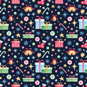 Watercolor christmas and new year seamless pattern for wrapping paper, fabric, textile, postcards.