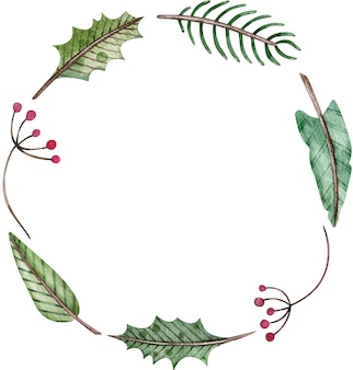 Watercolor christmas and new year simple round wreath - fir tree, mistletoe and berries. green winter frame.