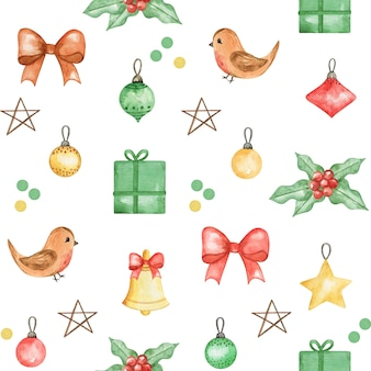 Watercolor christmas pattern, cute baby background, new year hand drawn pattern,winter textile print