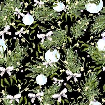 Акварель рождественский узор с деревьями и омелой иллюстрации