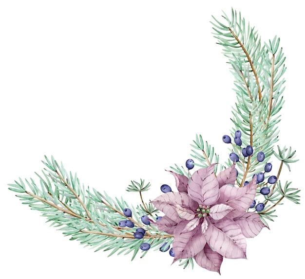 Акварель рождественский венок пуансеттия с сосновыми ветками и синими ягодами. угловая рама. зимний цветочный букет, изолированные на белом фоне.