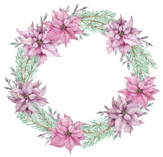 松の枝と水彩のクリスマスポインセチアの花輪。サークルウィンターフレーム。白い背景で隔離の新年の花カード。
