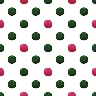 緑と赤の水彩クリスマス水玉がシームレスなパターンで発見