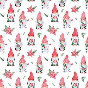 水彩画のクリスマススカンジナビアのパターン。赤い帽子とポインセチアの花のかわいいノームとのシームレスな背景。