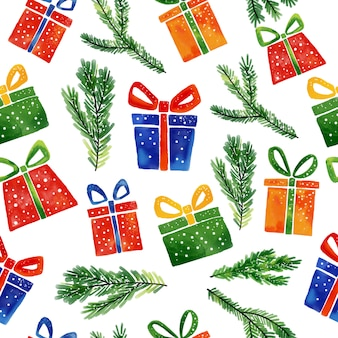 Watercolor christmas seamless pattern of hand drawn elements gifts and tree.