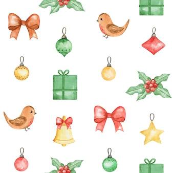 Watercolor christmas seamless pattern, new year cute background, winter bird, xmas pattern design