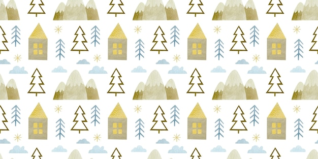 Watercolor christmas seamless pattern new year happy holiday background