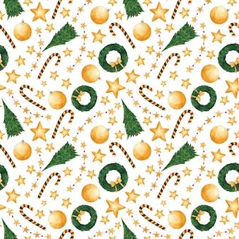 Акварель рождество бесшовные модели новогодняя печать на белом