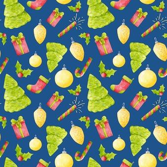 水彩画のクリスマスのシームレスなパターン新年は青い背景に印刷を繰り返します