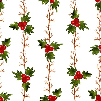 Watercolor christmas seamless pattern with mistletoe. can be used for wrapping, textile and packaging design