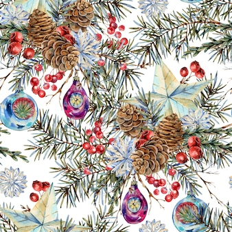 Watercolor christmas seamless pattern with natural bouquet of fir branches, star, pine cones, vintage botanical texture