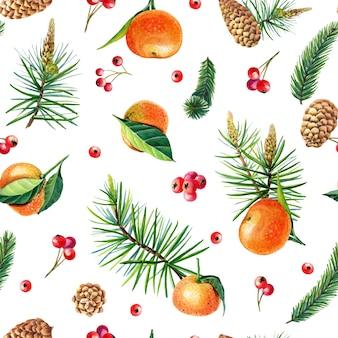 귤, 홀리, 잎, 딸기, 소나무, 가문비나무, 흰색 바탕에 녹색 나뭇가지와 수채화 크리스마스 완벽 한 패턴입니다. 만다린 오렌지 과일입니다. 새해를 위한 손으로 그린 겨울 식물 삽화.