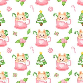수채화 크리스마스 완벽 한 패턴입니다.