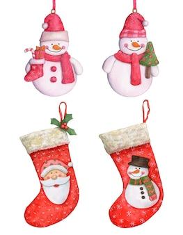白い背景の上の水彩画のクリスマスの靴下とクリスマスの装飾。