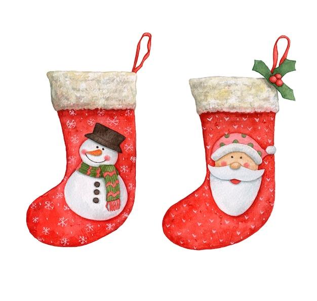 白い背景の上の水彩画のクリスマスの靴下。