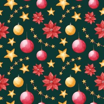 水彩のクリスマスのおもちゃのシームレスなパターンエメラルドグリーンの背景に新年の繰り返し印刷