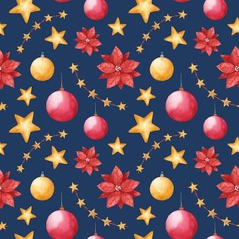 水彩のクリスマスのおもちゃのシームレスなパターン新年の冬は青い背景に印刷を繰り返します