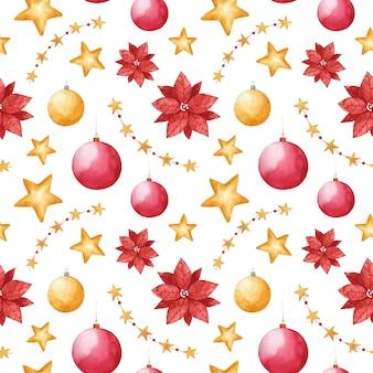 水彩のクリスマスのおもちゃのシームレスなパターン新年の冬は白い背景に印刷を繰り返します