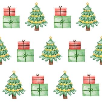 水彩のクリスマスツリーとシームレスなパターンを提示します